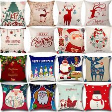 Xmas Cotton Pillow Case Linen Cushion Cover Merry Christmas Home Bed Decoration