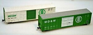 2 MDC/ROUNDHOUSE ASSEMBLED / UPGRADED HO MD&W 50' BOXCARS RD #8091 #10167