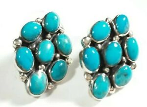 """925 STERLING SILVER FLOWER CLUSTER TURQUOISE  7/8"""" x 5/8"""" POST EARRINGS"""
