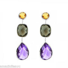 14K White Gold Earrings With Citrine, Smoky Topaz And Amethyst Gemstones