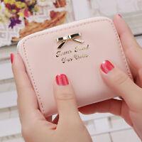 Women Girls Leather Small Wallet Card Holder Key Coin Purse Clutch Handbag Pouch