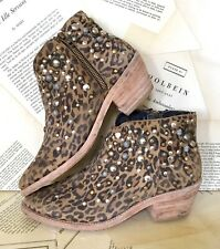Farylrobin Boots Leopard Suede Distress Multi Studded Ankle 7 NEW