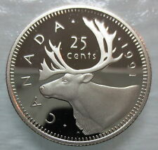 1991 CANADA 25 CENTS HEAVY CAMEO PROOF QUARTER COIN ☆ KEY DATE ☆