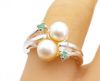 925 Sterling Silver - Freshwater Pearls & Peridot Bypass Band Ring Sz 9 - RG5429
