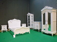 Uk Stock 4' Small Double Diamond White French Rococo Bed carved mahogany wood