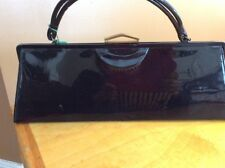 Vintage Black Patent Vinyl  Purse Handbag Large
