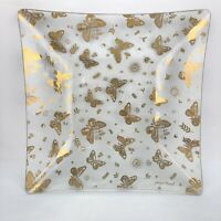 "Vtg MCM Georges Briard 11"" Clear Glass Plate Metallic Gold Butterfly Midcentury"