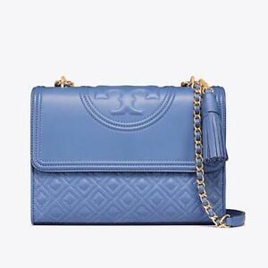 Tory Burch Fleming LARGE Convertible Shoulder Bag - Blue Lotus