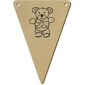 5 x 140mm 'Cute Teddy Bear' Wooden Bunting Flags (BN00033129)