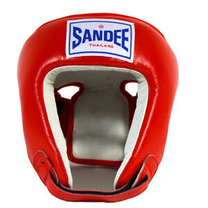 Sandee Open Face Leather Headgear - Small - Red/White