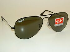 New RAY BAN Aviator Sunglasses Glass Polarized Green RB 3025 002/58  Black  58mm