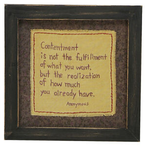 Stitcheries by Kathy Sign - Contentment - Hanging/Standing Frame - 23.5x23.5cm