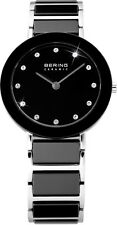 Bering Time Ladies Black Ceramic Link Watch Swarovski Crystals 11429-742 Women's