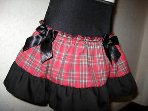 Baby Red tartan skirt Girls Black Alternative Clothing Party holiday Gothic UK