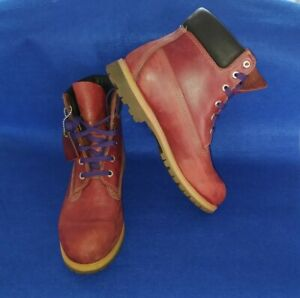 Classic Timberland Men's Red Leather Ankle Boots Size UK 9 W