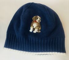 49eac3bdfbdb2f Janie and Jack Embroidered Navy & White Dog Warm Winter Hat Beanie