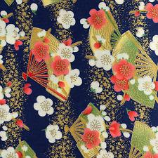 Japanese kimono oriental Fans and Sakura Blossom  fabric fat quarter FQ #F0007
