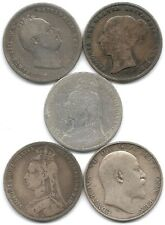 Great Britain Lot of 5 Silver Shilling Coins 1834, 1839, 1889, 1890 & 1906