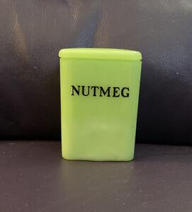 "VINTAGE  JADITE JEANNETTE GLASS TINY 3"" CHILD'S  SIZE NUTMEG CANISTER  WITH LID"