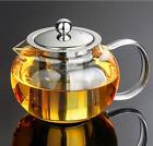 Clear Glass Tea Pot With Steel Infuser Leaf Teapot Stovetop Safe 22Oz 660ml