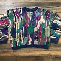 RARE vtg 80s 90s AUTH COOGI Biggie hip hop VAPORWAVE mosaic sweater crewneck L