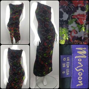 Vintage Monsoon Twilight 90s Evening Dress Devore Silk Burnout Velvet Size 10