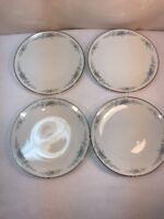 Vtg 4pc 1950's Noritake Roseberry Blue flower Luncheon Salad Bread plates