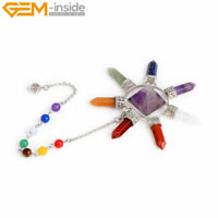 Necklace Chain 7 Chakra Real Stone Reiki Pendant Pendulum Reiki Healing Natural