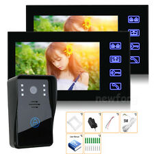 "7"" Color LCD Video Door Phone System Wired Intercom Doorbell IR Camera+2 Monitor"