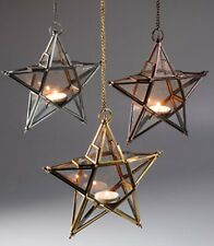 Star lantern, glass hanging, silver, brass or copper, hand crafted in India-21cm
