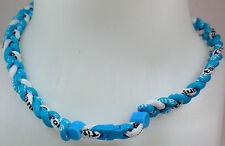 "New 20"" Custom Clasp Braided Sports Light Blue White Sky Tornado Necklace Twist"