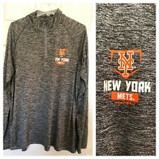 Under Armour NY New York Mets Baseball Heat Gear Loose 1/4 Zip Pull Over Gray XL