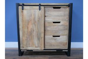 Industrial Rustic Mango Wood & Iron Storage Cabinet