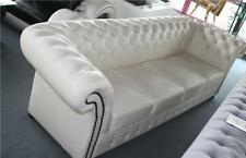 Chesterfield Luxury Couch Sofa with Stones Full Leather Pads Set New