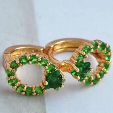 SMALL 18K YELLOW GOLD GF SOLID LADIES MENS GREEN EMERALD CRYSTAL HOOP EARRINGS