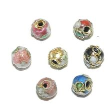 CL173p Assorted Color with Gold 5mm Round Enamel on Metal Cloisonne Beads 24pc