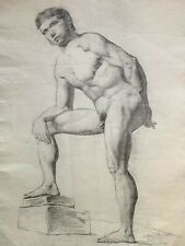 Large Academic Drawing, Nude Male, late 19th century