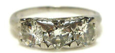 NOUVEAU IRIDIUM PLATINUM 900 1.25CT ROUND THREE STONE DIAMOND RING BAND SZ 5.75