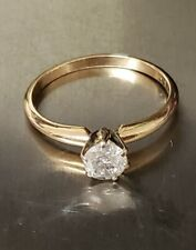 14K GOLD DIAMOND SOLITAIRE RING .650 Carat