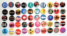 WHOLESALE JOB LOT  x 50  button badges 1 inch/ 25mm.  SLOGANS and SYMBOLS, NEW