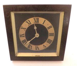 """Antique 1940s Chelsea Bronze Desk Clock Roman Numerals 4.25"""" for Parts/Repair"""