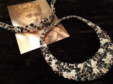 Extravagantes Collier mit Armband silber blauer Strass Neu