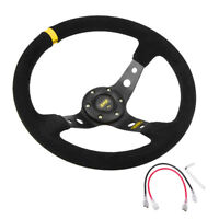 """1 Suede Leather 350mm 14"""" Deep Dish 6-Bolt JDM Racing Steering Wheel Horn Button"""