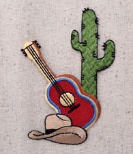 Western - Guitar/Cowboy Hat/Saguaro Cactus - Iron on Applique/Embroidered Patch