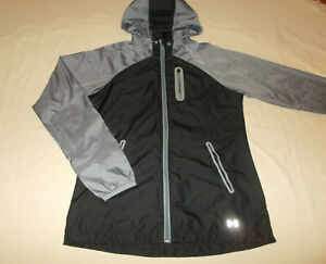 UNDER ARMOUR FULL ZIP BLACK & GRAY HOODED WINDBREAKER JACKET WOMENS SMALL EXC.