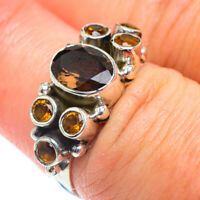 Smoky Quartz, Citrine 925 Sterling Silver Ring Size 7 Ana Co Jewelry R53872