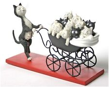 Proud Cat Mom Pushes Carriage Filled with Kittens by Dubout Statue DUB25