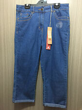 BNWT Ladies Sz 10 Rivers Brand Stretch Mid Blue Denim Crop Style Pants Jeans