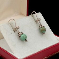 Antique Vintage Art Deco Style Sterling Silver Byzantine Bali Turquoise Earrings