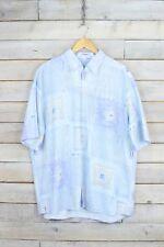 Vintage Azul Cielo Estampado Camisa (L)